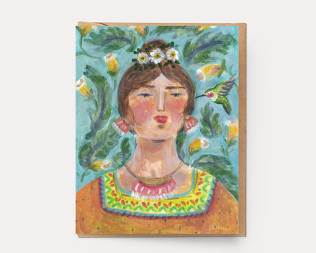 Hummingbird Woman | Greeting Card U-123