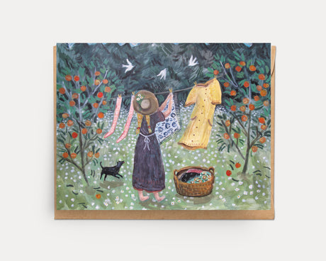 Laundry in the Peach Orchard | Greeting Card U-118