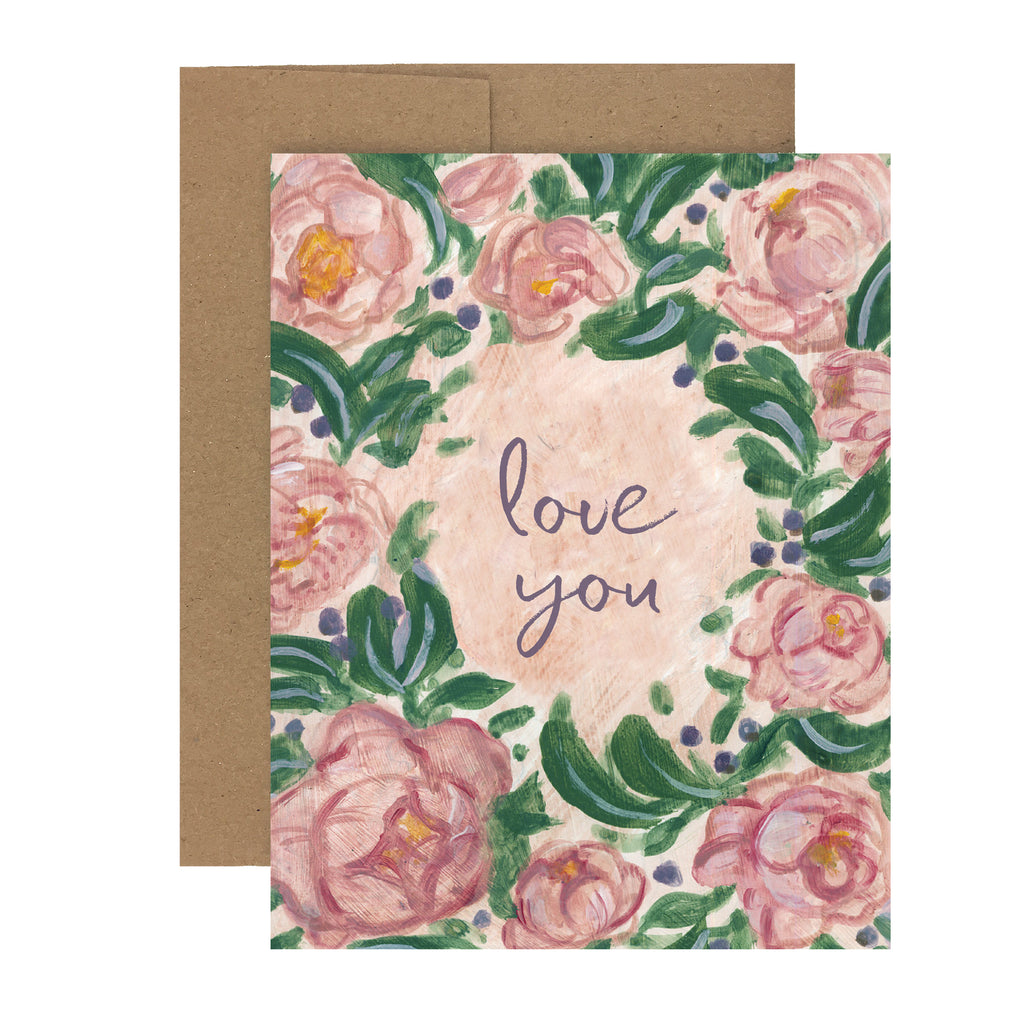 Sale! Love Rose Wreath | Greeting Card L-103