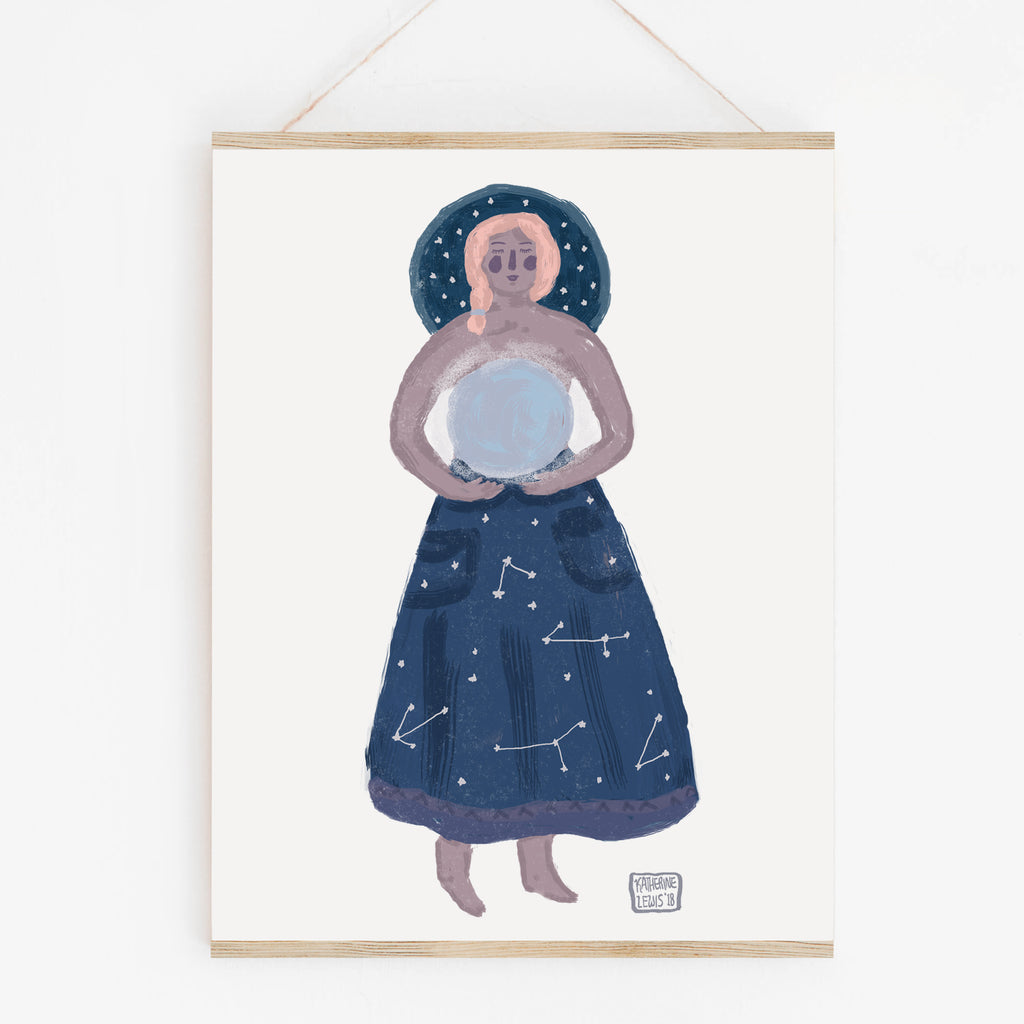 Moon Goddess - Folk Art Print