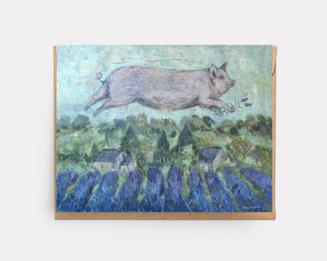 Pig over Lavender | Greeting Card U-120