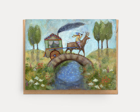 Pulling the Painted Cart | Greeting Card U-107