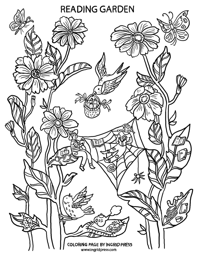 FREE Download & print coloring page | Reading Garden
