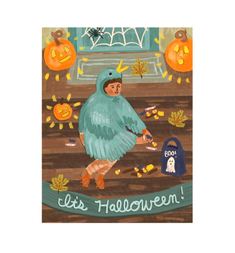 Halloween card with trick or treater sitting on front porch with jack o lanterns wearing a bird costume