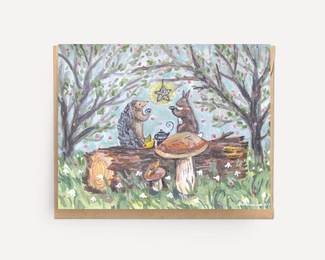 Tea on a Log | greeting card U-116