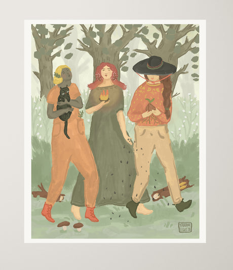 Walking Sisters | Art print on paper 9x12