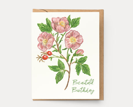 Wild Rose Beautiful Birthday | Greeting Card BOT-102