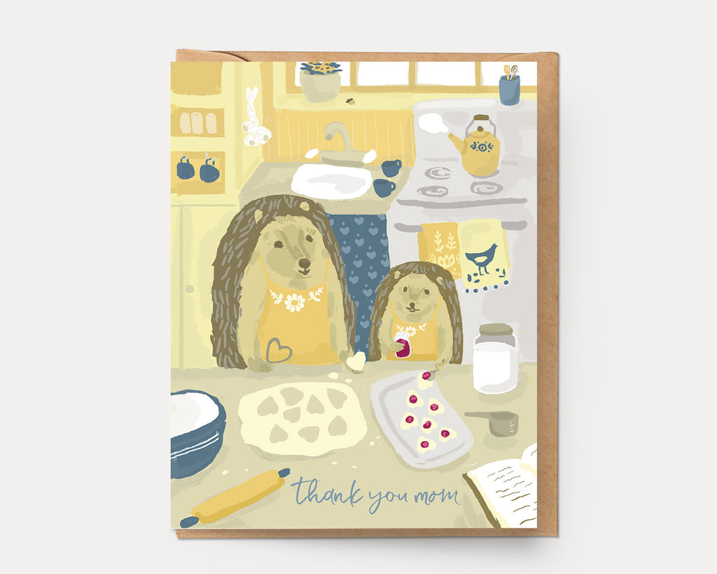 Hedgehogs in the Kitchen | Greeting Card H-109 Mother's Day