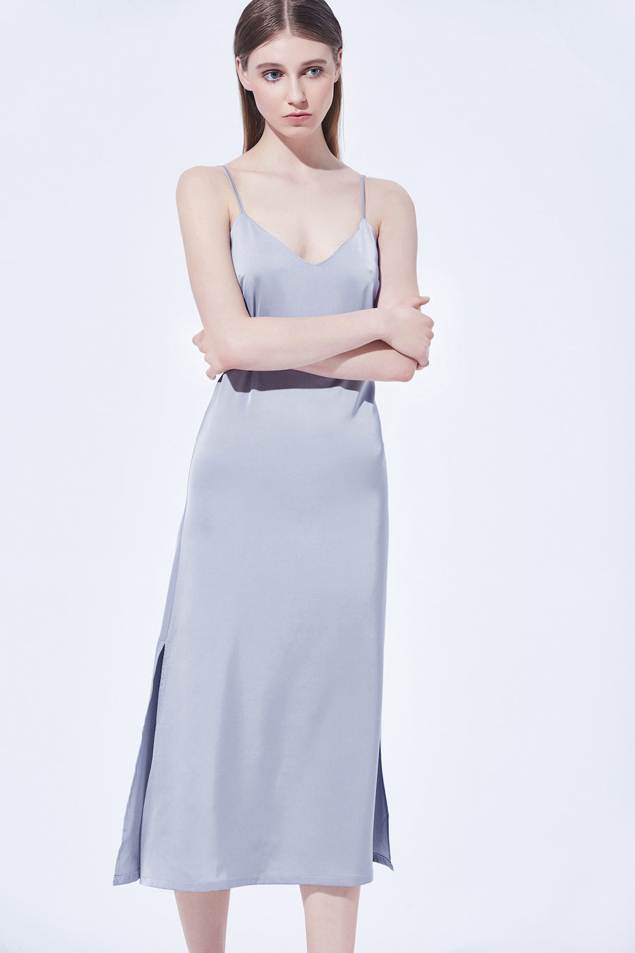 Teresa Slip Dress - Steel Blue