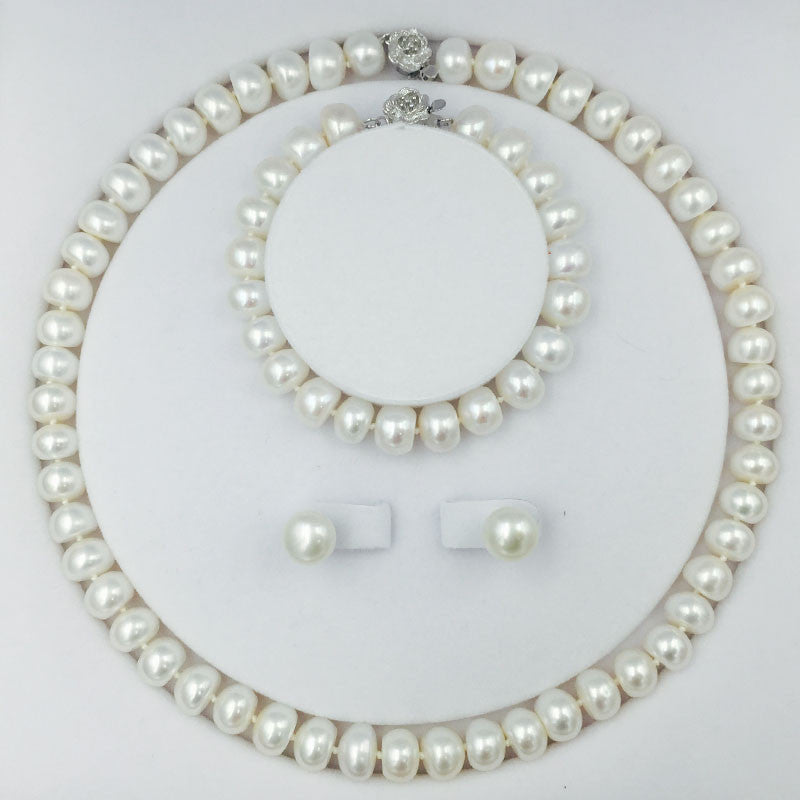 Classical freshwater pearls bead jewelry Set with 18inch necklace