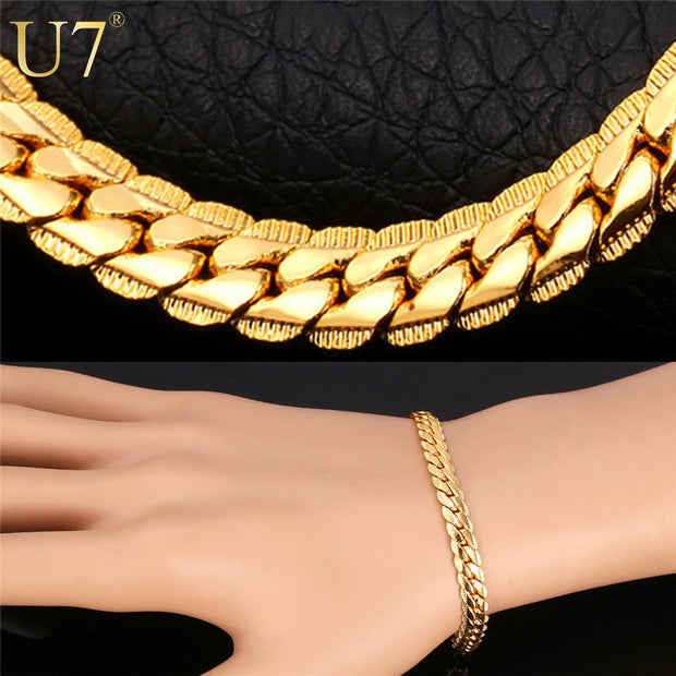 Gold Plated Chain Bracelet  Men Jewelry Gift Wholesale 3 Colors Trendy