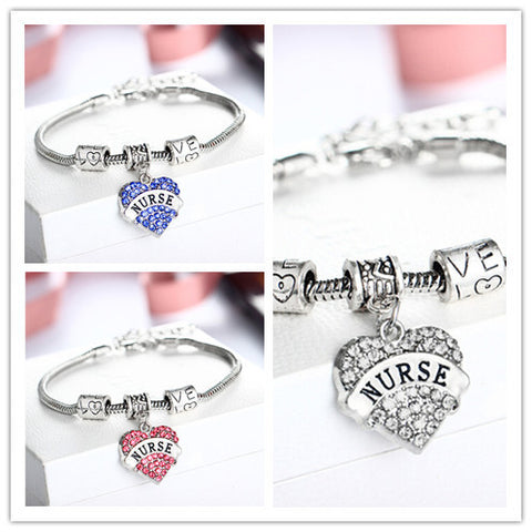 Engraved Nurse Family Gifts Love Heart Rhinestone Crystal Charm Pendant Silver Bangle Bracelet Party Women Lady Jewelry
