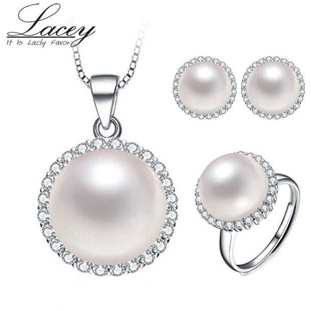 Natural freshwater peal jewelry set, pearl pendant earrings ring bride