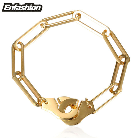 Enfashion Handcuffs Bracelets Stainless Steel Cuff Bracelet Femme Chain Gold Plated Bracelet For Women Jewelry pulseiras