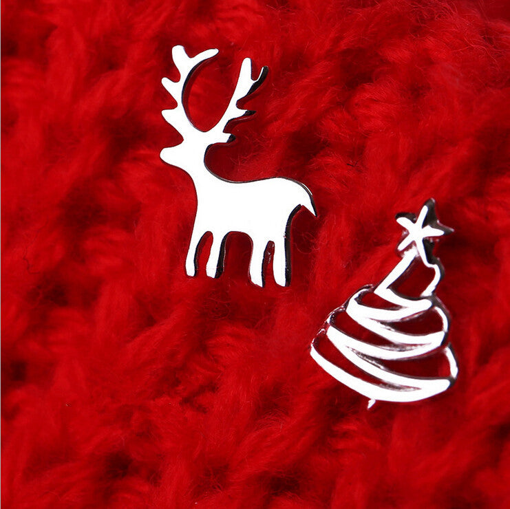 Christmas Gift 925 Sterling Silver Elk Deer Christmas Tree Stud