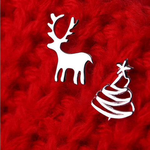 Christmas Gift 925 Sterling Silver Elk Deer Christmas Tree Stud Earrings For Women Sterling-Silver-Jewelry Boucle D'oreille A355