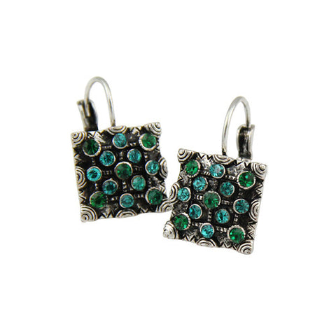 Green Color Rhinestone Clip Earrings 2016 New Fashion Vintage Women