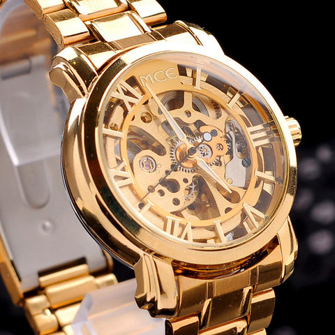 Wrist watch Brand MCE unisex golden Steel Luxury men's watch VOGUE AUTOMATIC Watch Gold Skeleton Mechanical watch original box