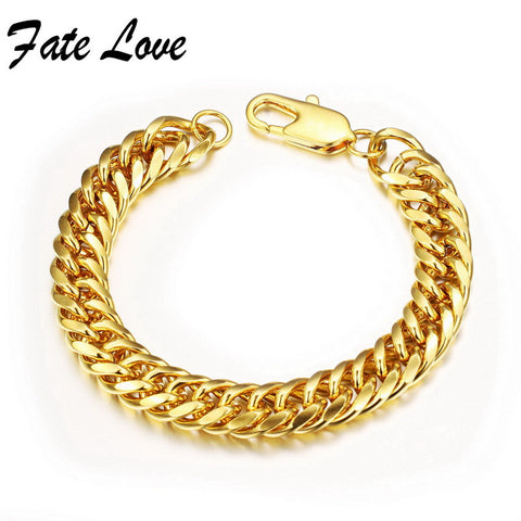Classic Chain Bracelet GOLD Plated Bracelet cool men gold bracelet link 8/10/12MM wedding jewellery pulseira ouro