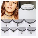 Collares Vintage Stretch Tattoo Choker Necklace Punk Retro Gothic