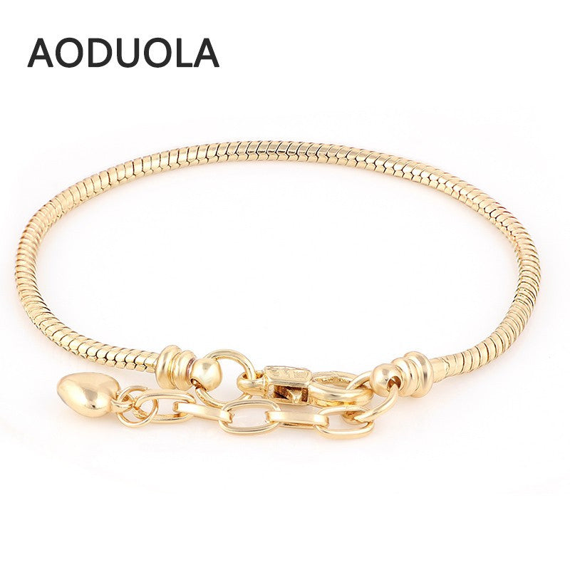 DIY  Bracelets  Gold Snake Chain Chamilia Fit For charms Bracelet