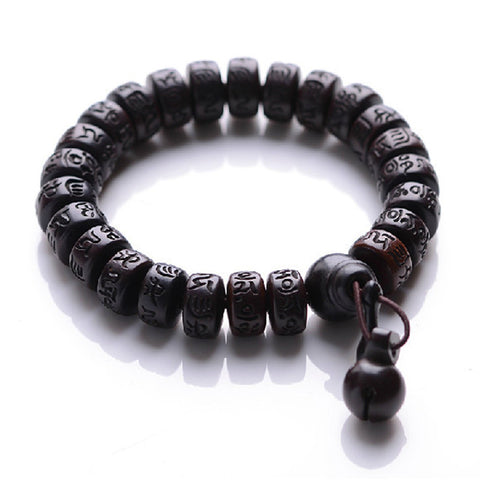 Ubeauty Natural Peach Wood Buddha beads bracelet hand carved Tibetan Buddhist male bracelet Meditation Men wrist wooden bracelet