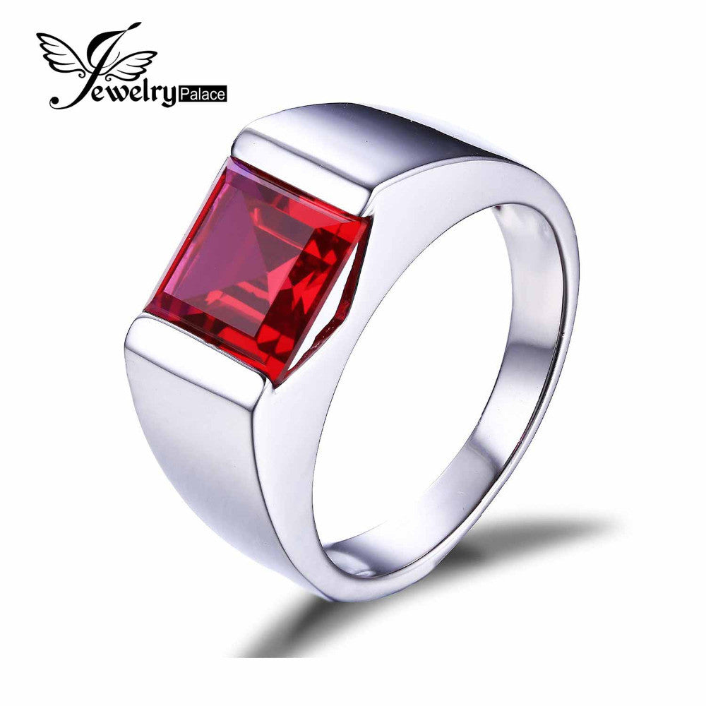 Classics 3.4ct Pigeon Blood Ruby Ring For Men Solid 925 Sterling