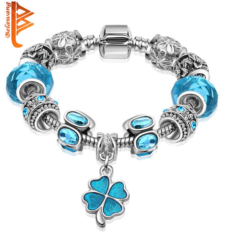 European Silver Plated Clover Charm Glass Bead  Bracelet For Women With Safety Chain Authentic Strand Bracelet Bijoux Gift