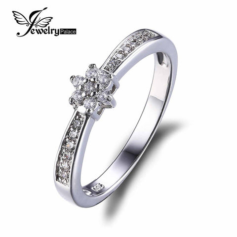 JewelryPalace Flower Cubic Zirconia Anniversary Wedding Band Ring Genuine 925 Sterling Silver 2016 New Fine Jewelry For Women