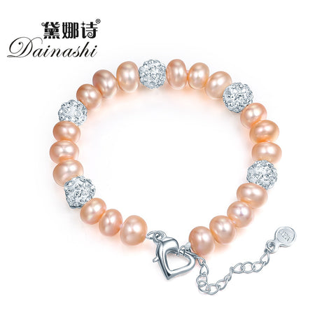 Dainashi natural freshwater pearl bracelets for Women white/pink/purple/mixed color pearl jewelry charm bracelets hot sale
