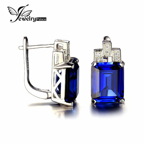 JewelryPalace Luxury Emerald Cut 12.1ct Created Blue Sapphire Clip On Earrings 925 Sterling Silver Charms Vintage Gift For Women