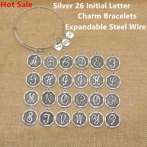 Hot Sale American Jewelry Silver Plated A-Z Initial Letter Charm Bracelets Women Gift Adjustable Expandable Wire Bangle Bracelet