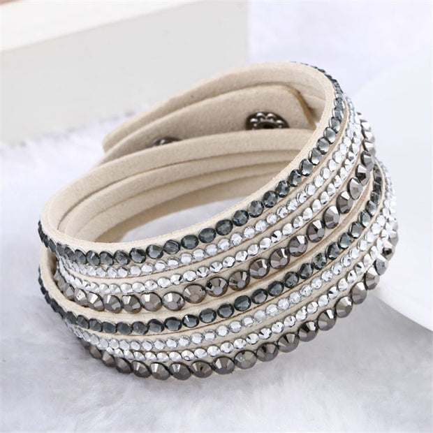 Hot Sale 2016 NEW  Fashion Rhinestone Leather Wrap Bracelet Crystal