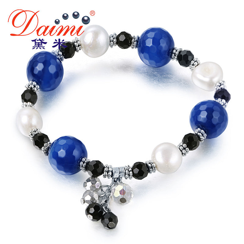DAIMI Big Agate Crystal Design Vintage Bracelet Colorful 11-12MM Pearl