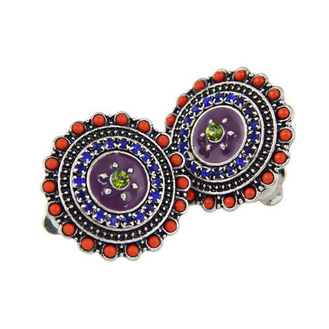 Jewelry Clip Earrings Women Bohemian Vintage Purple Enamel Crystal