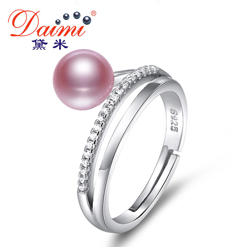 DAIMI Ring 7-8MM Freshwater Pearl Ring 6 Color Fashion Style Gift