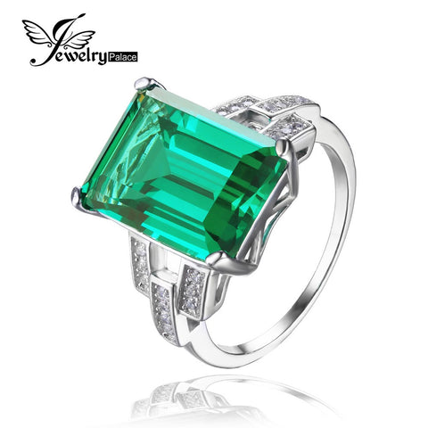 JewelryPalace Luxury 5.9ct Created Green Nano Russian Emerald Cocktail Ring 925 Sterling Silver Wedding Bands Rings For Women