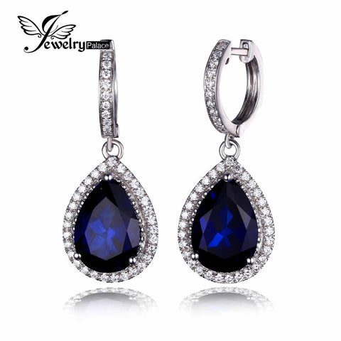 JewelryPalace Luxury Pear Cut 12.4ct Created Blue Sapphire Dangle Earrings Genuine 925 Sterling Silver Jewelry For Women Fashion