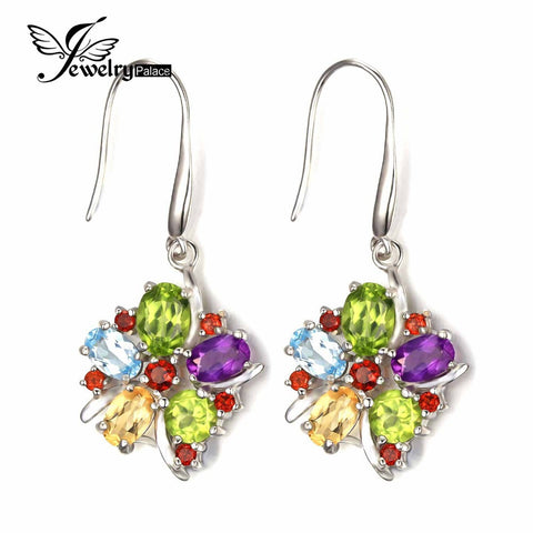 JewelryPalace Flower 6.2ct Natural Amethyst Garnet Peridot Citrine Blue Topaz Dangle Earrings Trendy 925 Sterling Silver Jewelry