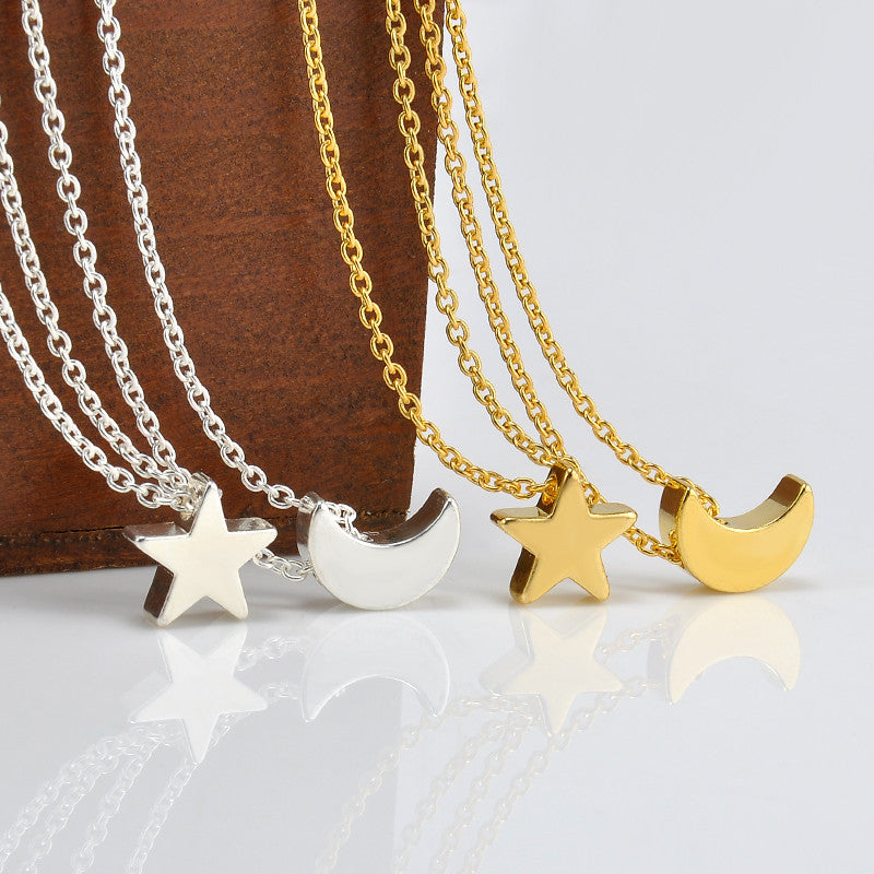Cute Moon Star Pendant Chain Necklace Women Choker Necklace Collar
