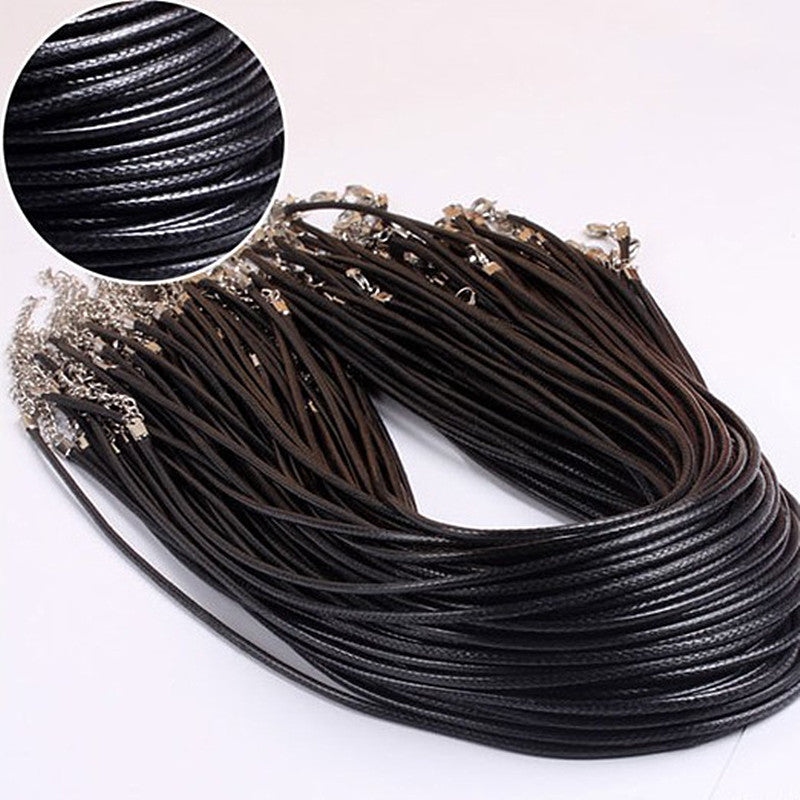 N697 Twisted Braided Rope 2mm Black PU Leather Cord Chain Necklace