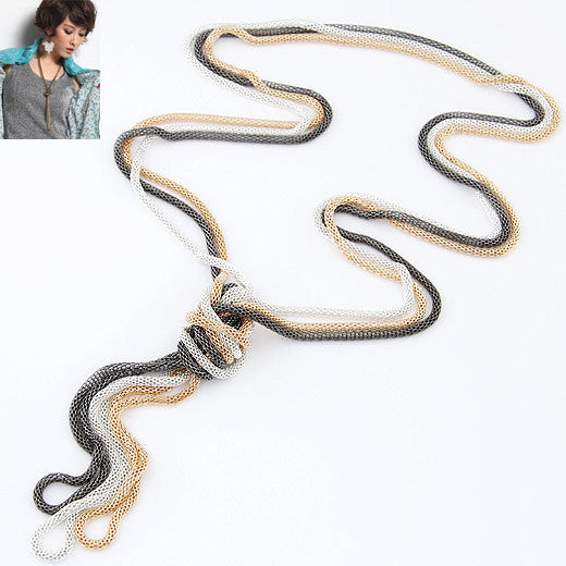 Colares Femininos Fashion Punk Multilayer Long Chain Necklaces &