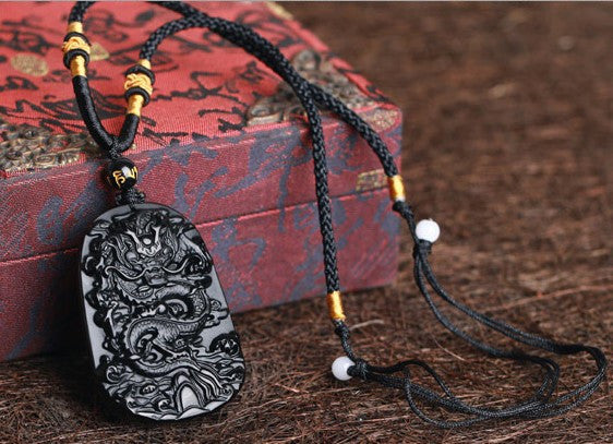 Drop Shipping Fine carving Chinese natural black A obsidian carved