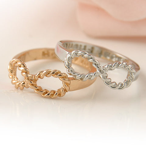 Gold Silver Jewelry Vintage Infinity Rings Femme Friendship Best Friend Ring for Women and Men Anel Gift