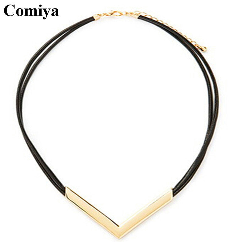 Comiya statement big brand leather V chokers necklaces zinc alloy