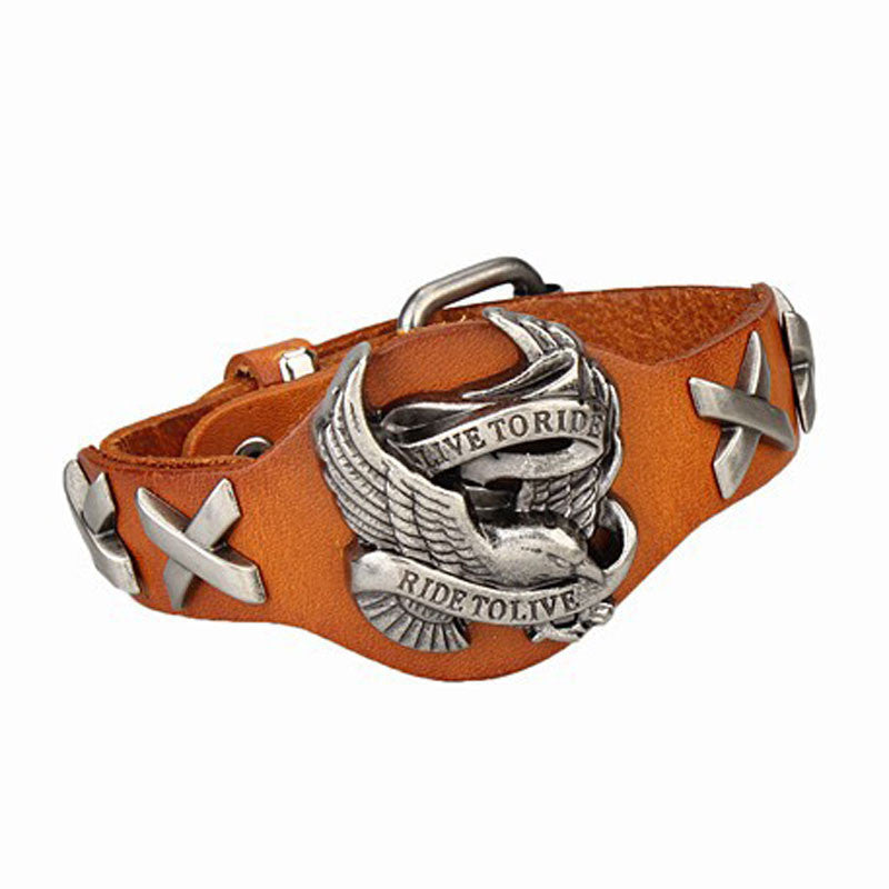 Cool Men Women Punk Harley Rider Genuine Leather Wrap Bracelet Live To