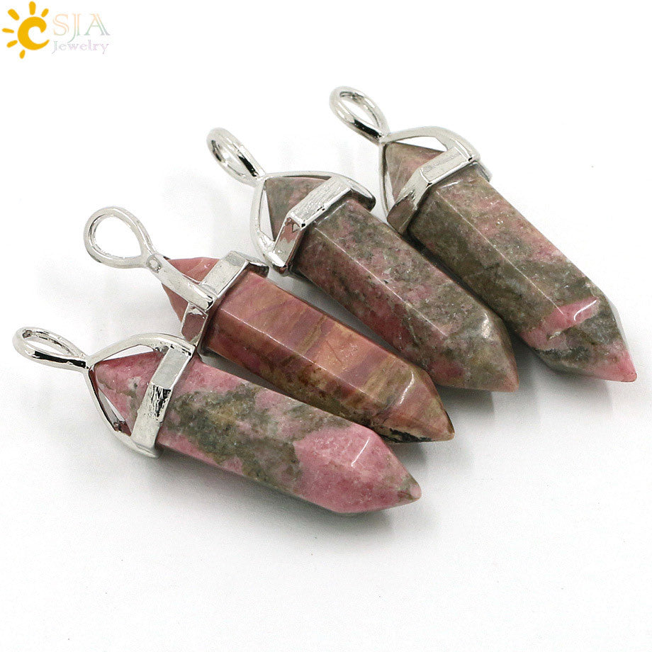 CSJA 1pcs Bullet Shape Natural Stone Pendant Real Amethyst Women