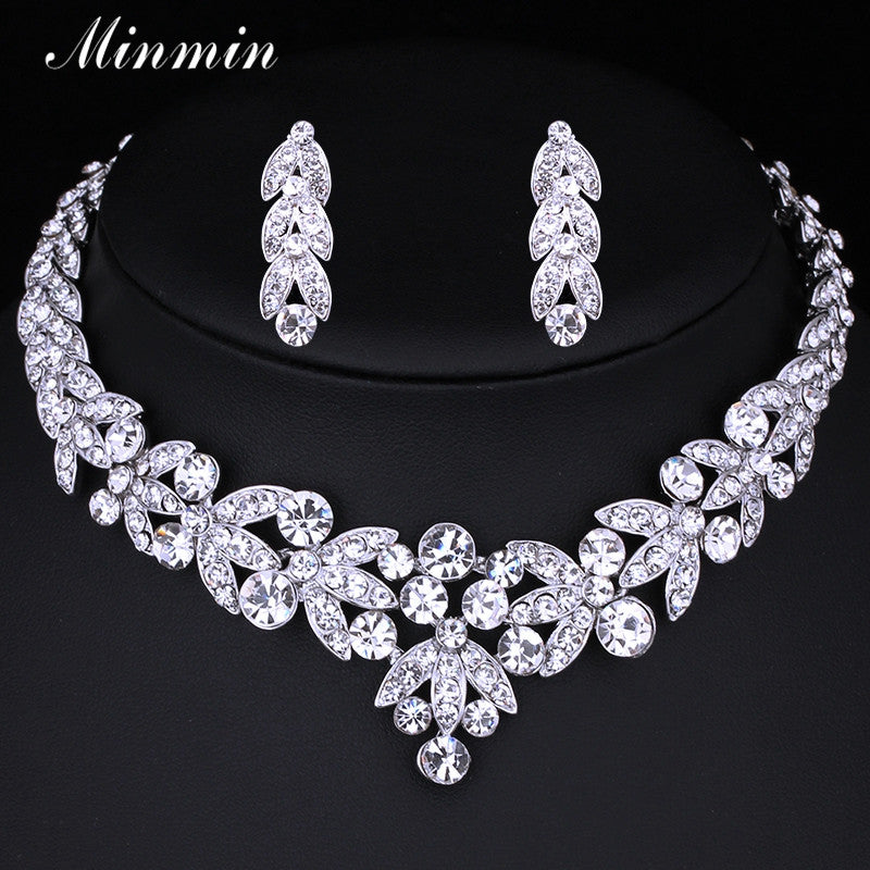 Minmin Small Leaf  Wedding Jewelry Sets for Women Bridal Accessories