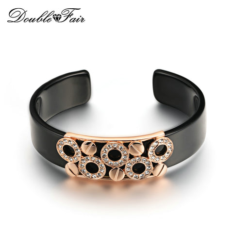 DFB017 Black Acrylic Opening Charm Bracelets & Bangles Rose Gold Plated Metal Nesting Fashion CZ Diamond Jewelry For Women