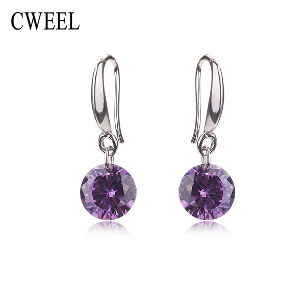 CWEEL Imitated Crystal Stud Earrings Women Wedding For Teen Girls